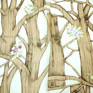 Silk Scarf Tree Branches Print Square Cejon